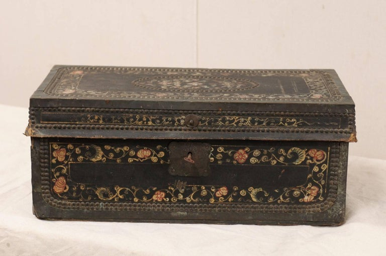 19th Century Chinese Camphor Wood and Leather Trunk with Hand-Painted Flowers In Good Condition For Sale In Atlanta, GA