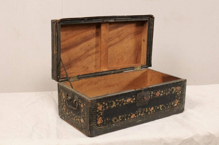 19th Century Chinese Camphor Wood and Leather Trunk with Hand-Painted Flowers For Sale 2