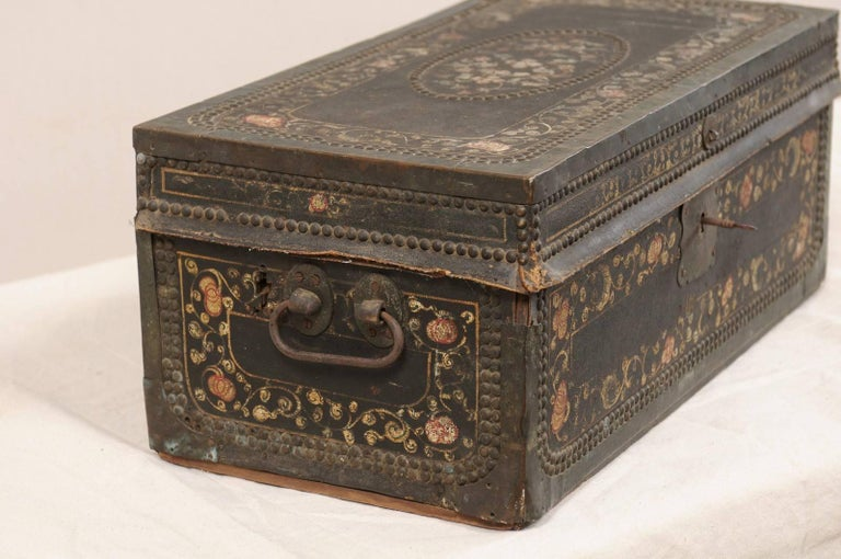 Carved 19th Century Chinese Camphor Wood and Leather Trunk with Hand-Painted Flowers For Sale