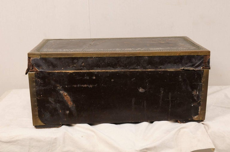 19th Century Chinese Wood and Hand Painted Leather Trunk with Nail Head Accents For Sale 4