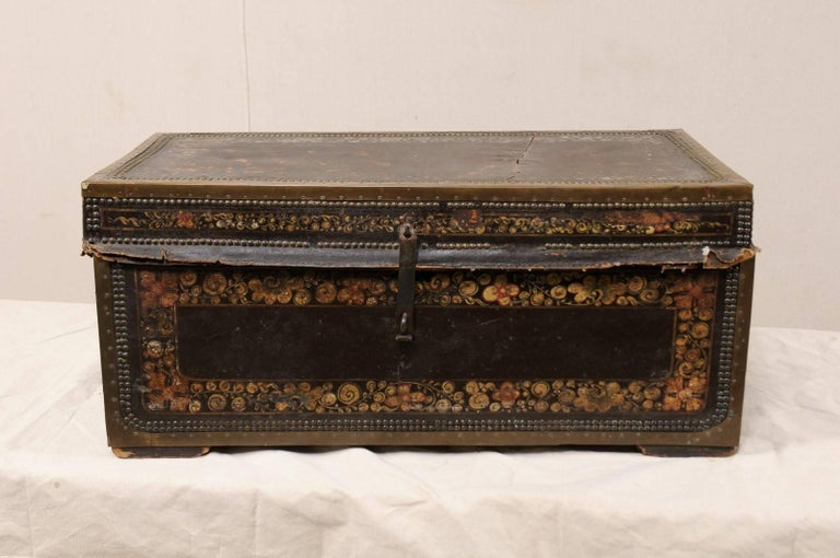 Carved 19th Century Chinese Wood and Hand Painted Leather Trunk with Nail Head Accents For Sale