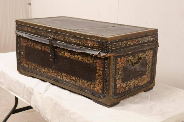 19th Century Chinese Wood and Hand Painted Leather Trunk with Nail Head Accents In Good Condition For Sale In Atlanta, GA