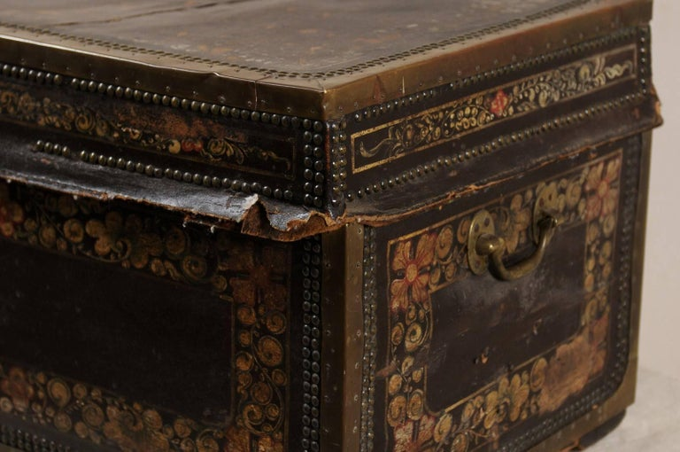 19th Century Chinese Wood and Hand Painted Leather Trunk with Nail Head Accents For Sale 1