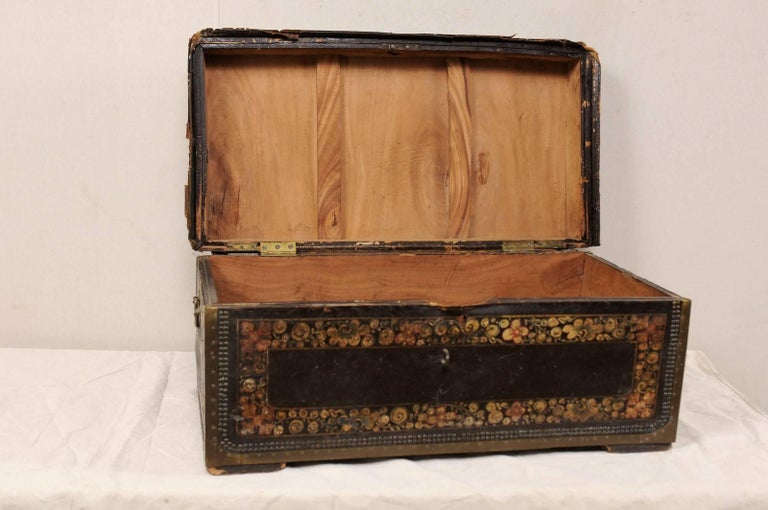 19th Century Chinese Wood and Hand Painted Leather Trunk with Nail Head Accents For Sale 2