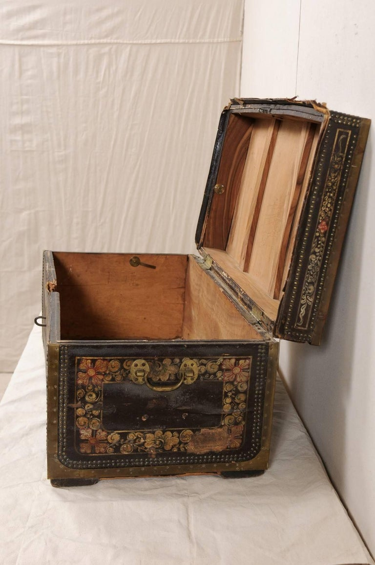 19th Century Chinese Wood and Hand Painted Leather Trunk with Nail Head Accents For Sale 3