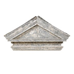 American Zinc Pediment from the Early 19th Century with Dentil Molding