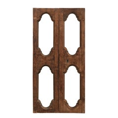Pair of Italian 19th Century Carved Wood Doors with Pierced Central Motifs