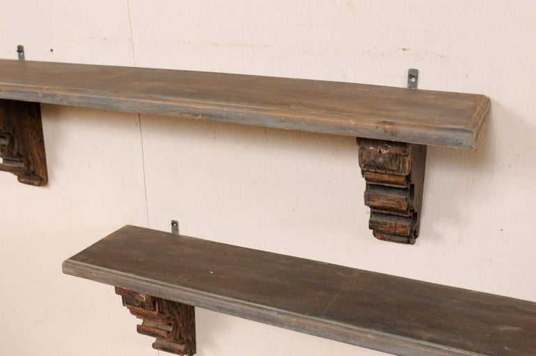Pair Of Unique Italian Style Shelves Made Of Lovely Old
