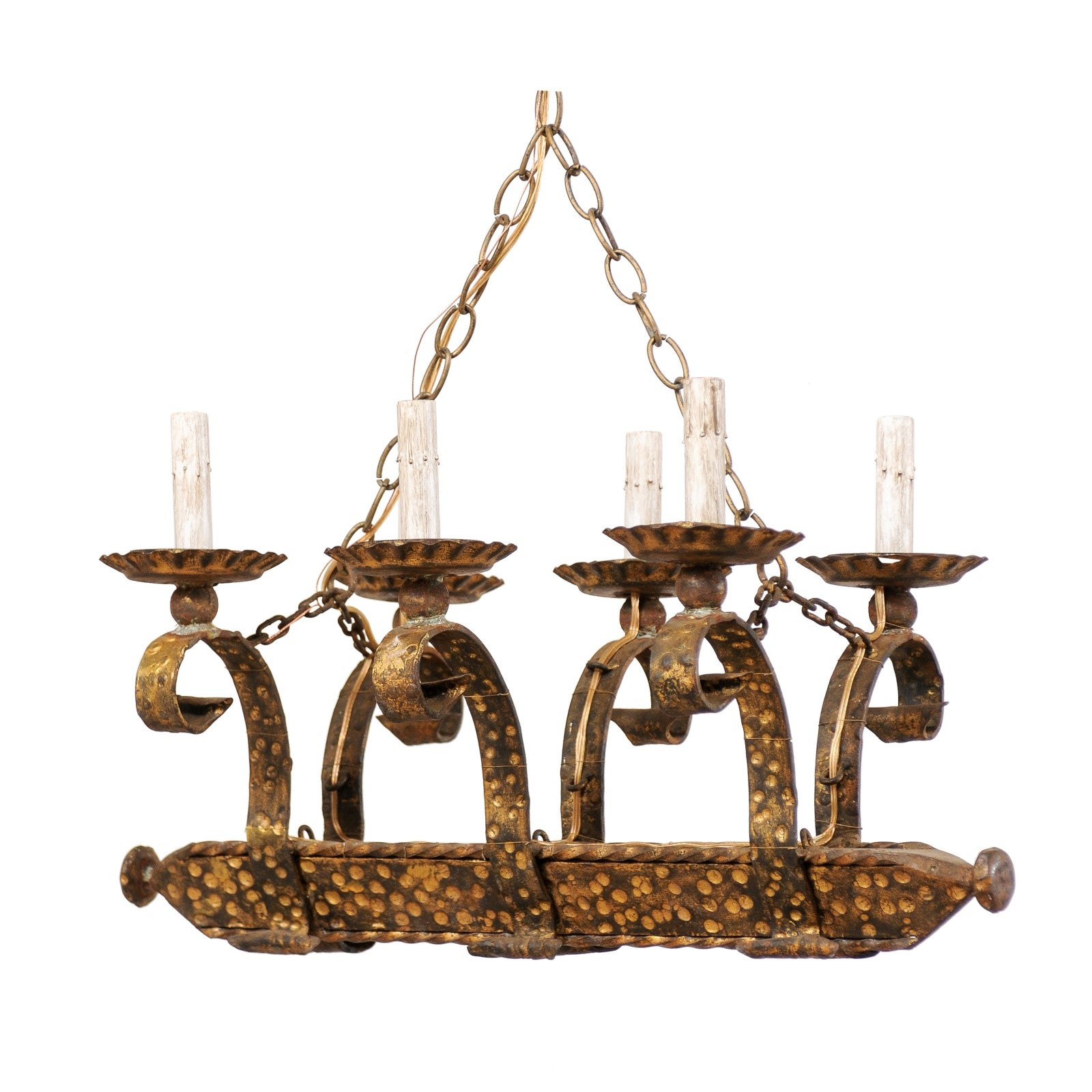 French Six-Light Forged and Hammered Iron Chandelier in Gold Colored Finish