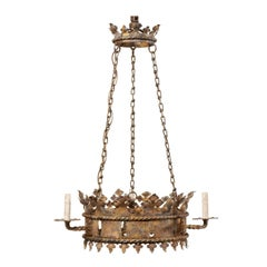 French Midcentury Ring Shaped Iron Crown Chandelier with Gold Accents