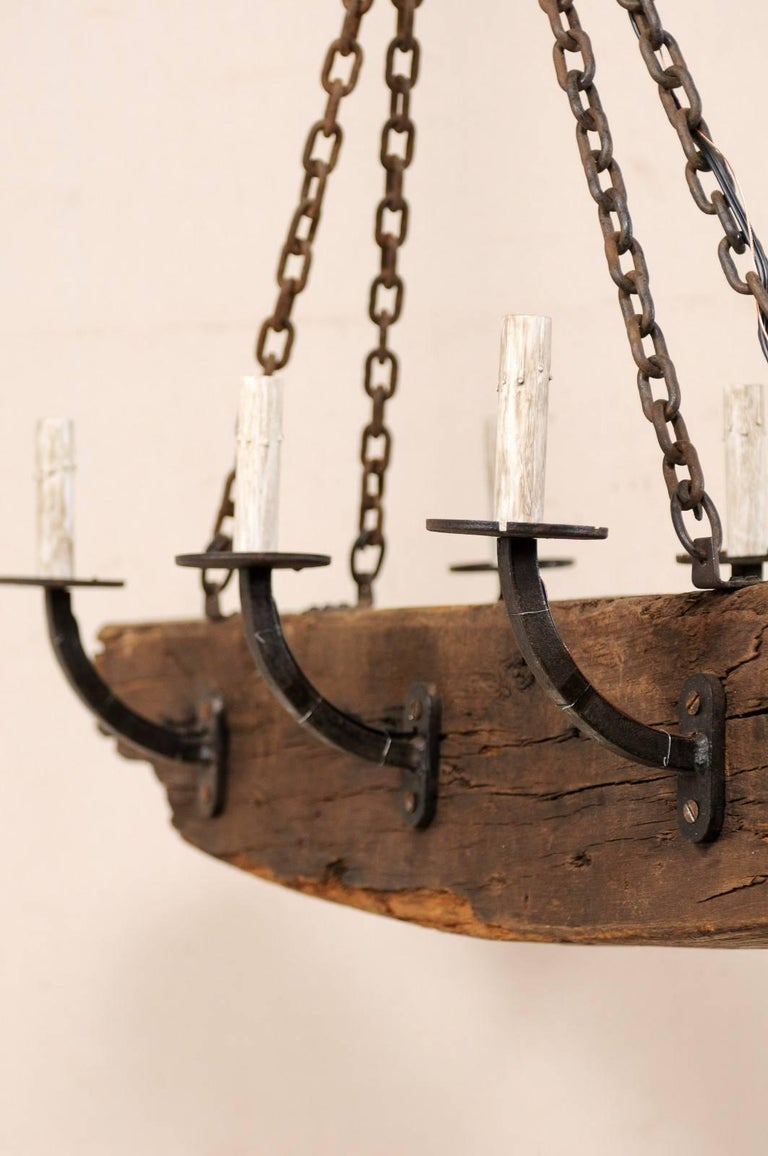20th Century French Vintage Midcentury Rustic Wood Beam Chandelier with Six Forged Iron Arms For Sale