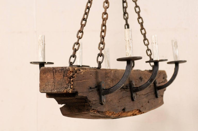 French Vintage Midcentury Rustic Wood Beam Chandelier with Six Forged Iron Arms For Sale 4