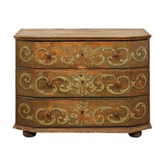 A Large 18th Century Beautifully Hand-Painted Wood Three-Drawer Commode, Italy