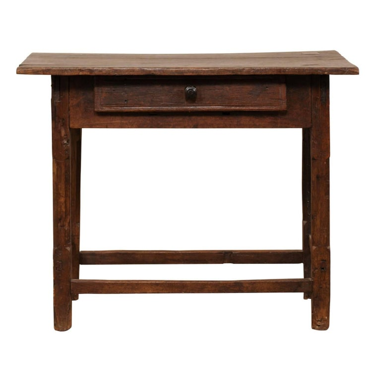 19th Century Brazilian Rustic Peroba Wood Side Table with a Single Drawer