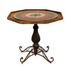 Whimsical Late 19th Century Crokinole Gaming Pedestal Table of Iron and Wood