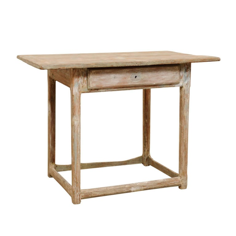 Period Gustavian Swedish 19th Century Pale Fir Wood Side Table For Sale