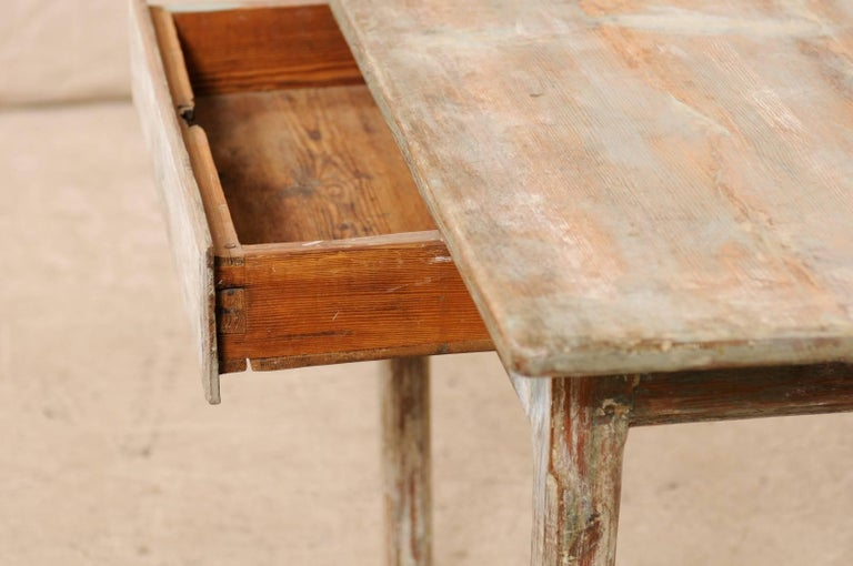 Period Gustavian Swedish 19th Century Pale Fir Wood Side Table For Sale 2