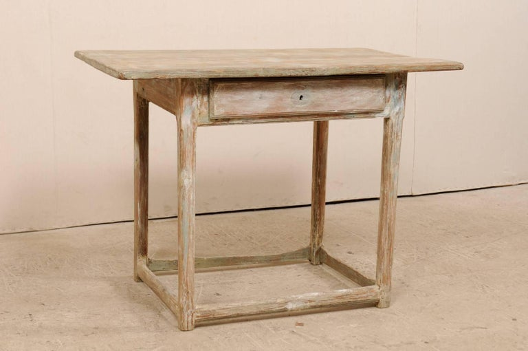 Carved Period Gustavian Swedish 19th Century Pale Fir Wood Side Table For Sale