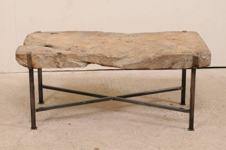 Spanish 19th Century Rustic Wood Slab Coffee Table With Custom Black Iron Base For 4