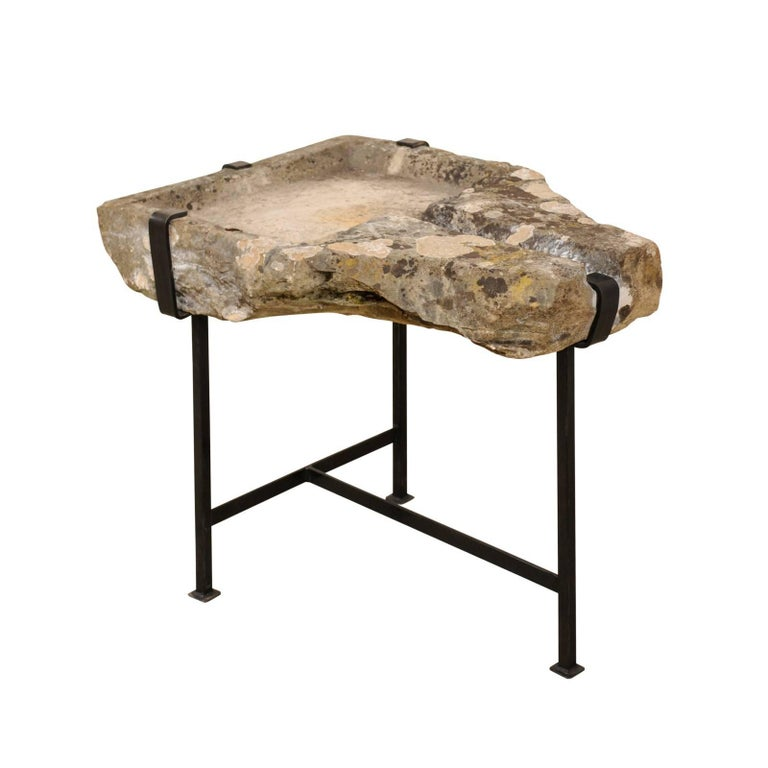 Early 19th Century French Stone Trough Coffee Table on Custom Black Iron Base