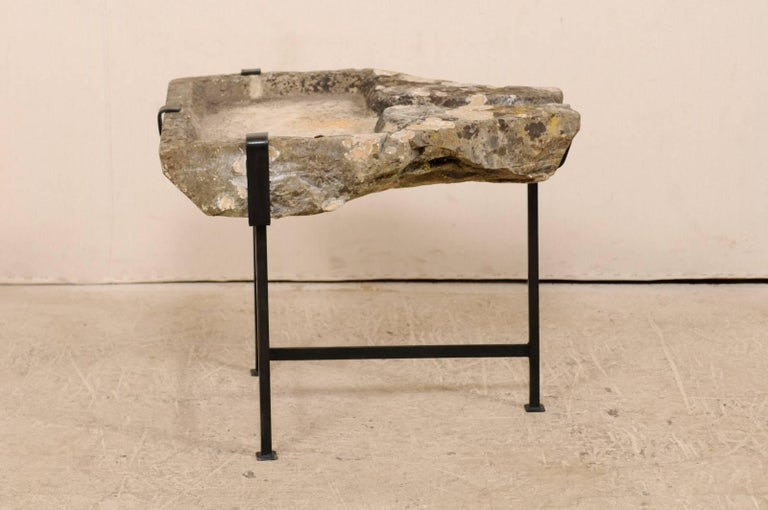 Rustic Early 19th Century French Stone Trough Coffee Table on Custom Black Iron Base