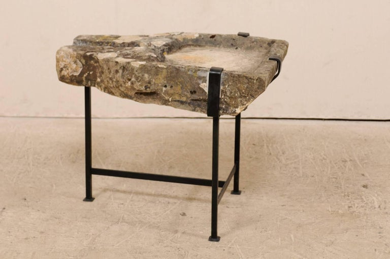 Early 19th Century French Stone Trough Coffee Table on Custom Black Iron Base 3