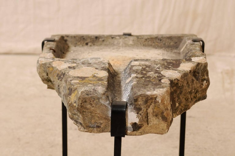 Early 19th Century French Stone Trough Coffee Table on Custom Black Iron Base 1