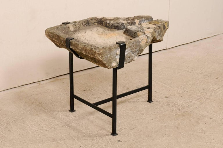 Early 19th Century French Stone Trough Coffee Table on Custom Black Iron Base In Good Condition In Atlanta, GA