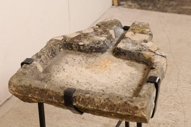Metal Early 19th Century French Stone Trough Coffee Table on Custom Black Iron Base