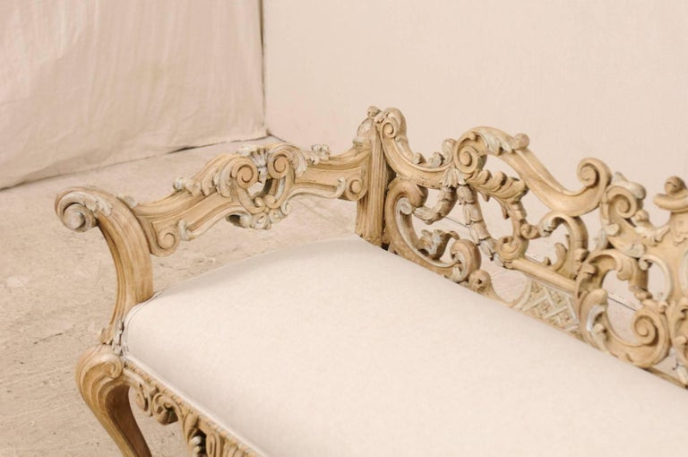 Italian 19th C. Baroque Style Sofa Bench w/ Ornately-Pierce Carved Back & Skirt For Sale 3