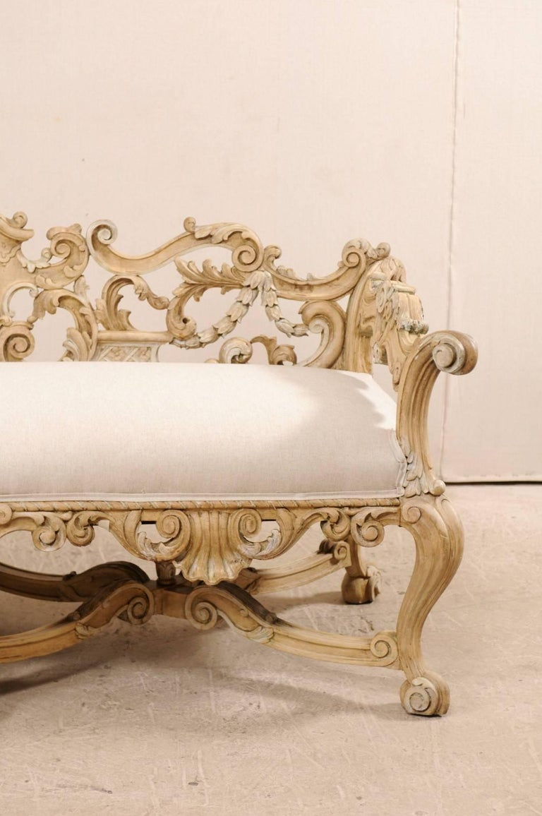 Linen Italian 19th C. Baroque Style Sofa Bench w/ Ornately-Pierce Carved Back & Skirt For Sale