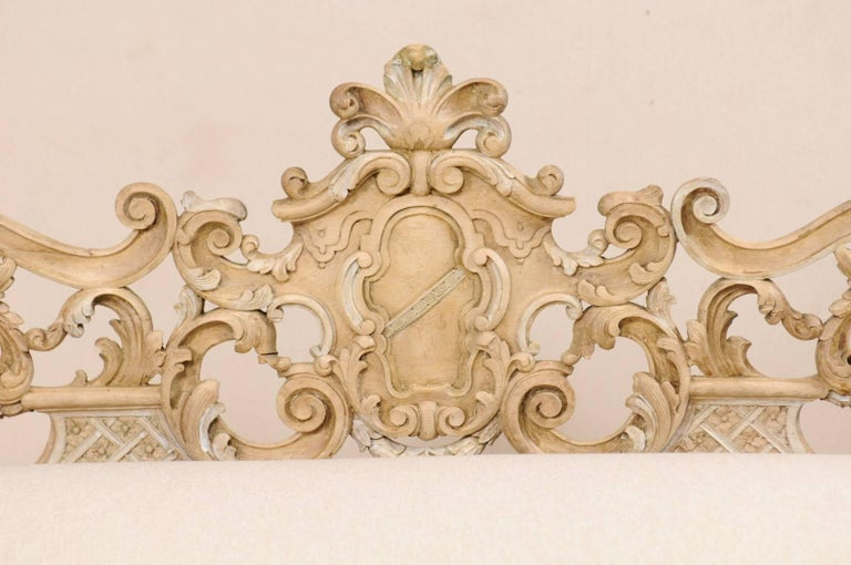 19th Century Italian 19th C. Baroque Style Sofa Bench w/ Ornately-Pierce Carved Back & Skirt For Sale