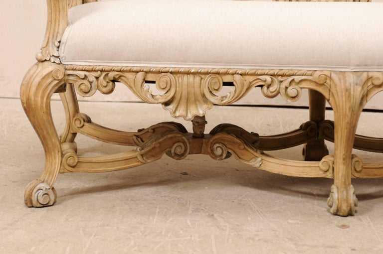 Italian 19th C. Baroque Style Sofa Bench w/ Ornately-Pierce Carved Back & Skirt In Good Condition For Sale In Atlanta, GA