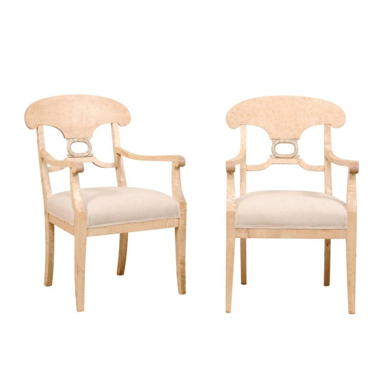 Pair of Swedish Biedermeier or Karl Johan Armchairs from the Late 1800s