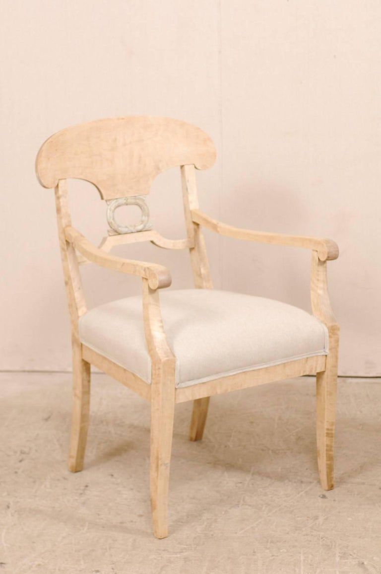 Bleached Pair of Swedish Biedermeier or Karl Johan Armchairs from the Late 1800s For Sale
