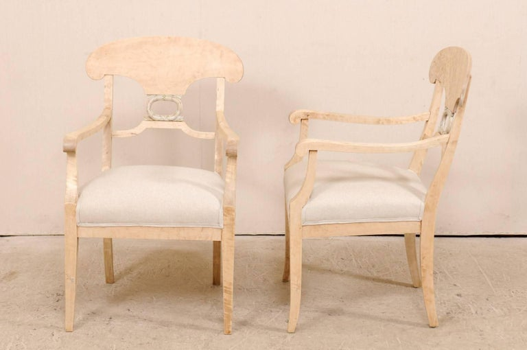Pair of Swedish Biedermeier or Karl Johan Armchairs from the Late 1800s For Sale 3