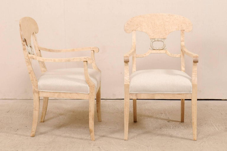 19th Century Pair of Swedish Biedermeier or Karl Johan Armchairs from the Late 1800s For Sale