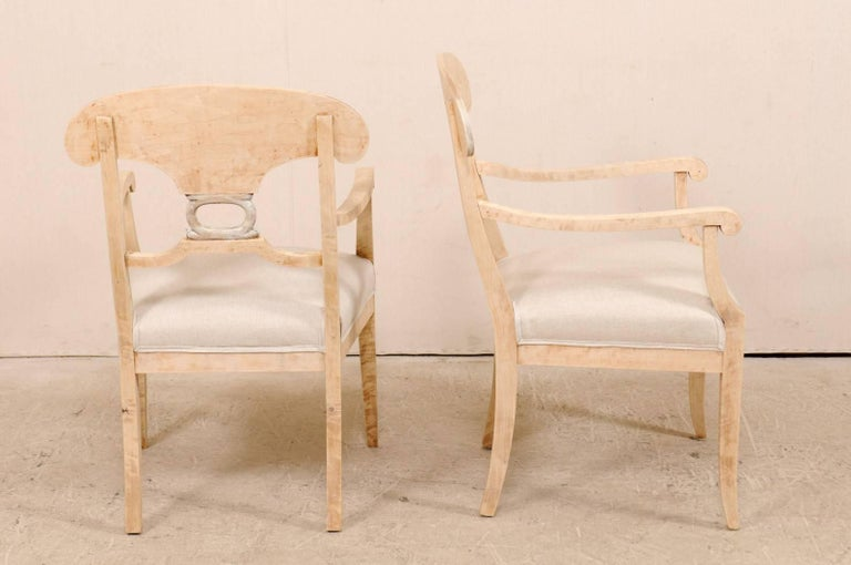Pair of Swedish Biedermeier or Karl Johan Armchairs from the Late 1800s For Sale 1