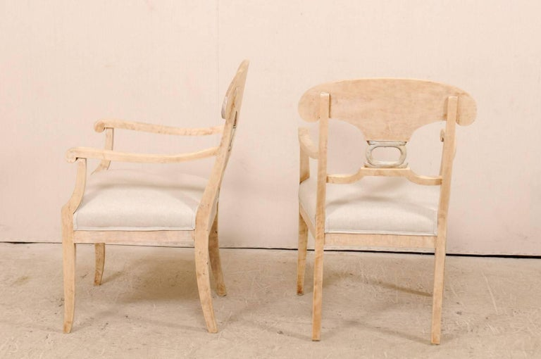 Pair of Swedish Biedermeier or Karl Johan Armchairs from the Late 1800s For Sale 2