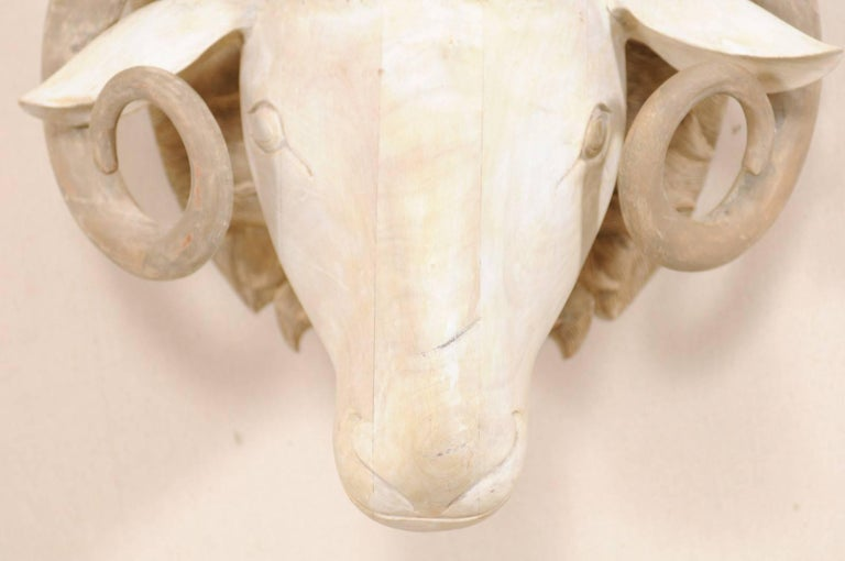Carved and Painted Wood Ram's Head Wall-Mounted Sculpture For Sale 3
