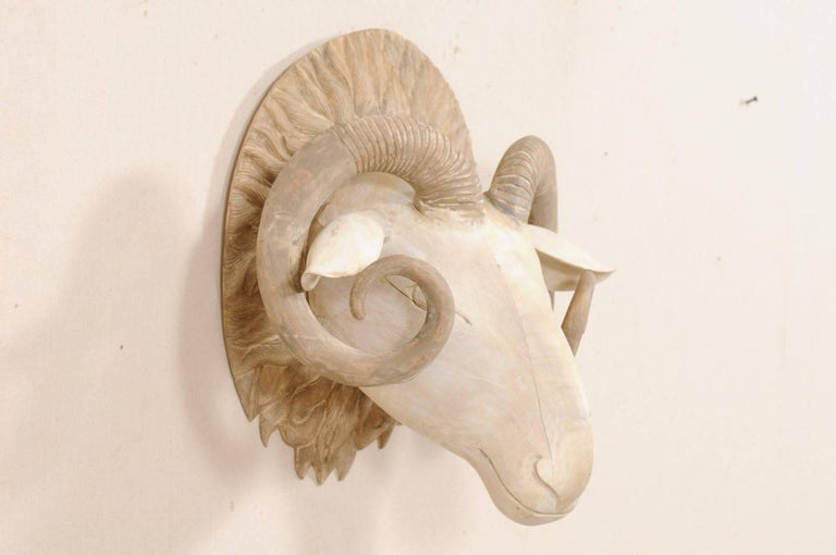 Indonesian Carved and Painted Wood Ram's Head Wall-Mounted Sculpture For Sale