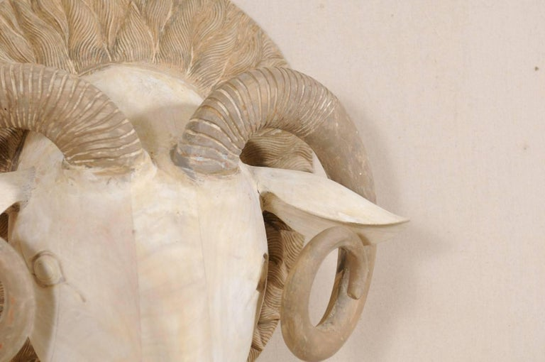 Carved and Painted Wood Ram's Head Wall-Mounted Sculpture For Sale 1