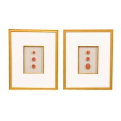 Pair of Framed Wall Decorations Featuring Rare, Red Antique Italian Intaglios