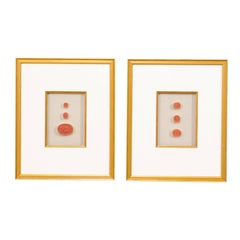 Rare Italian Red Intaglios Mounted in a Pair of Painted Gold Frames