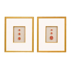 Rare Italian Early 20th Century Red Intaglios Set into a Pair of Gold Frames