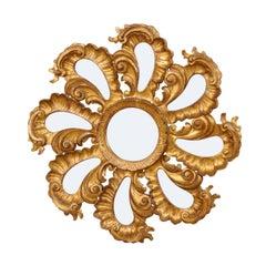 Exquisite Italian Vintage Carved Giltwood Circular Repeating Petal Wall Mirror
