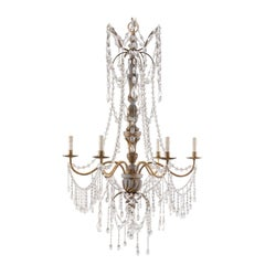 Italian Antique Crystal Six-Light Chandelier, Painted with Gilt Accents