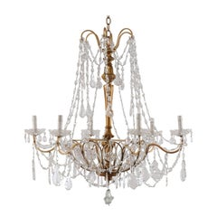 Italian Basket Shaped Elegant Crystal Chandelier with Carved and Gilded Column