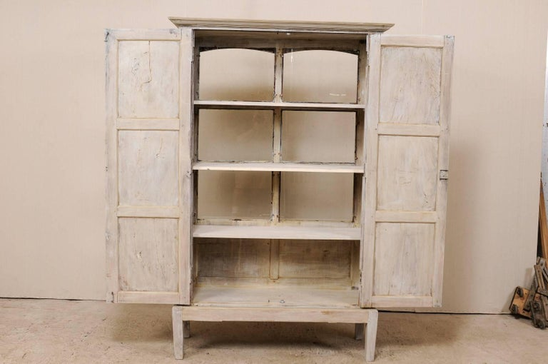 Wood Single Two-Sided Early 20th Century British Colonial Two-Door Painted Cabinet For Sale
