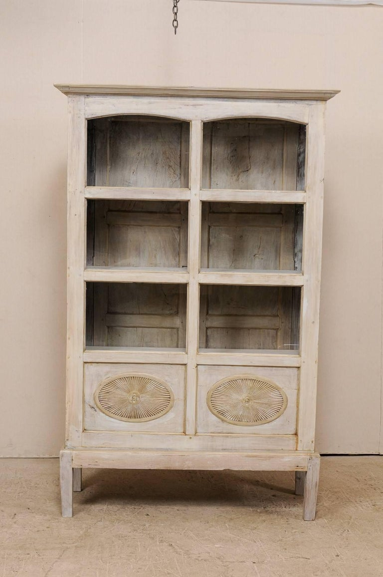 Indian Single Two-Sided Early 20th Century British Colonial Two-Door Painted Cabinet For Sale